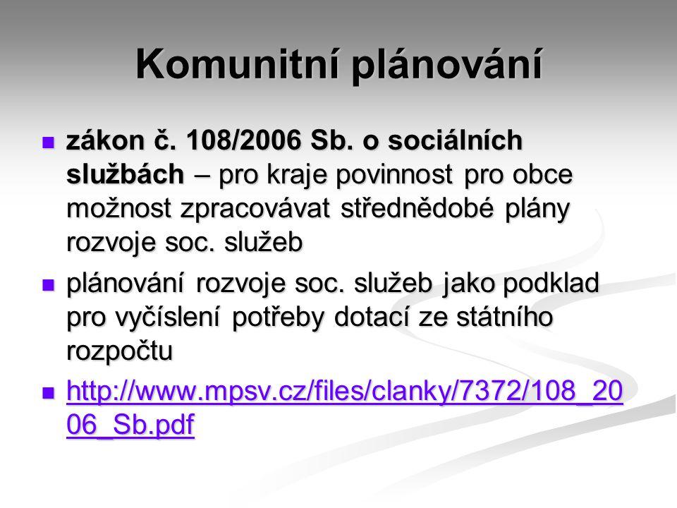 Komunitní plánování zákon č.108/2006 Sb.