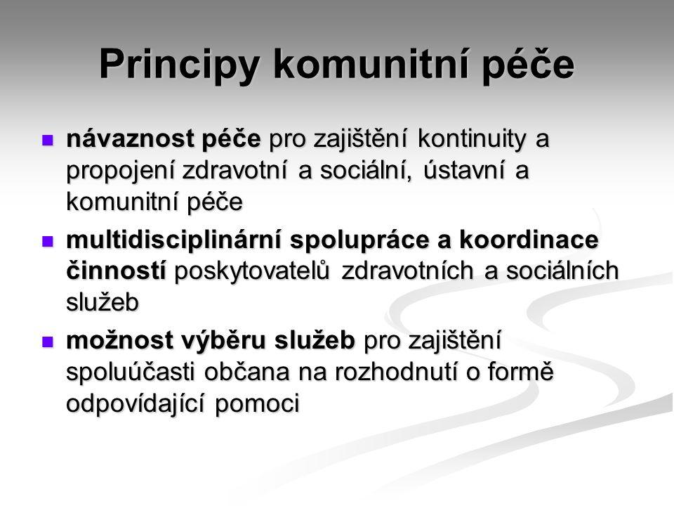 Principy komunitní péče návaznost péče pro zajištění kontinuity a propojení zdravotní a sociální, ústavní a komunitní péče návaznost péče pro zajištění kontinuity a propojení zdravotní a sociální, ústavní a komunitní péče multidisciplinární spolupráce a koordinace činností poskytovatelů zdravotních a sociálních služeb multidisciplinární spolupráce a koordinace činností poskytovatelů zdravotních a sociálních služeb možnost výběru služeb pro zajištění spoluúčasti občana na rozhodnutí o formě odpovídající pomoci možnost výběru služeb pro zajištění spoluúčasti občana na rozhodnutí o formě odpovídající pomoci