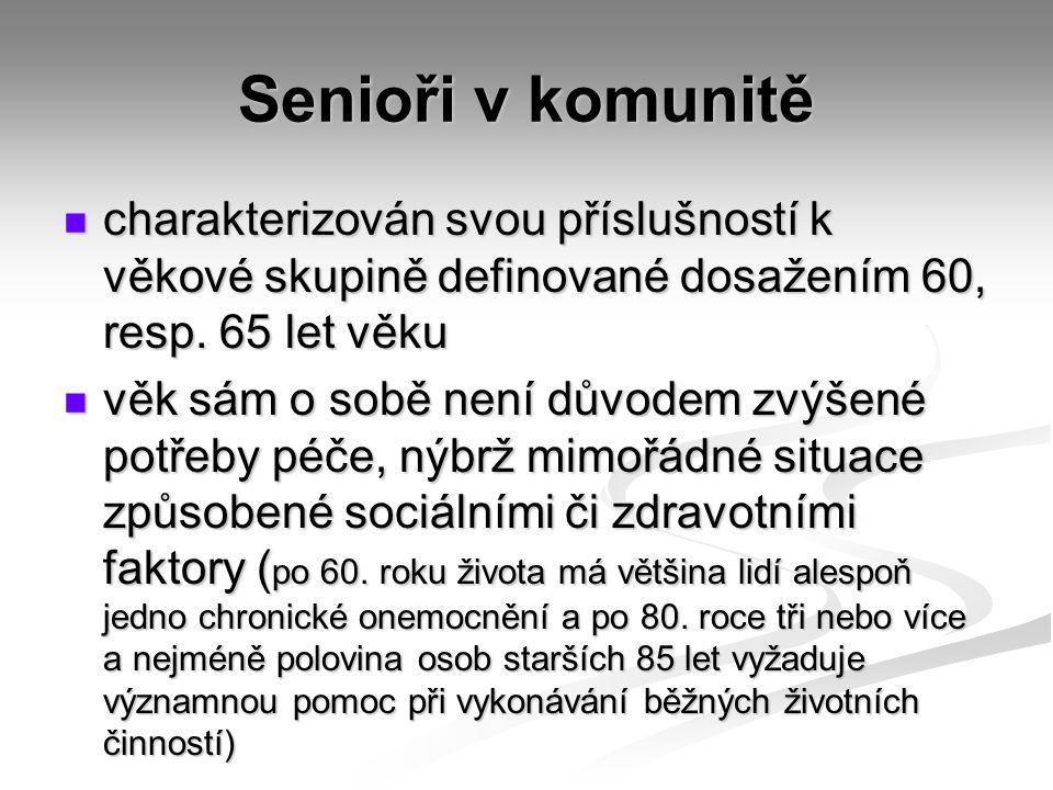 Senioři v komunitě charakterizován svou příslušností k věkové skupině definované dosažením 60, resp.