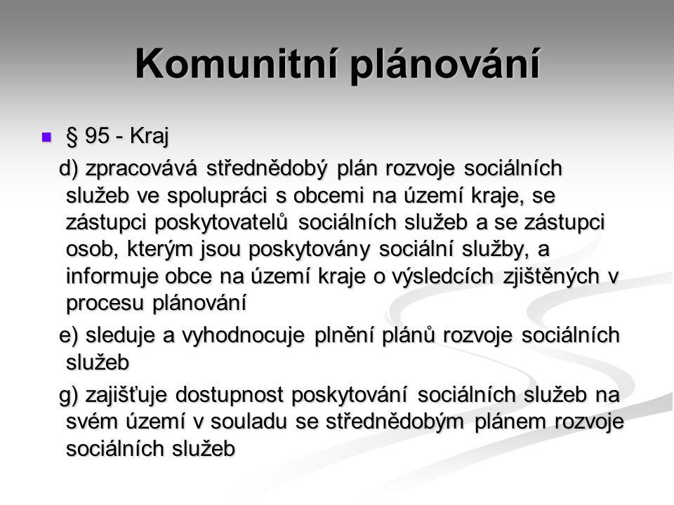 Komunitní plánování § 95 - Kraj § 95 - Kraj d) zpracovává střednědobý plán rozvoje sociálních služeb ve spolupráci s obcemi na území kraje, se zástupci poskytovatelů sociálních služeb a se zástupci osob, kterým jsou poskytovány sociální služby, a informuje obce na území kraje o výsledcích zjištěných v procesu plánování d) zpracovává střednědobý plán rozvoje sociálních služeb ve spolupráci s obcemi na území kraje, se zástupci poskytovatelů sociálních služeb a se zástupci osob, kterým jsou poskytovány sociální služby, a informuje obce na území kraje o výsledcích zjištěných v procesu plánování e) sleduje a vyhodnocuje plnění plánů rozvoje sociálních služeb e) sleduje a vyhodnocuje plnění plánů rozvoje sociálních služeb g) zajišťuje dostupnost poskytování sociálních služeb na svém území v souladu se střednědobým plánem rozvoje sociálních služeb g) zajišťuje dostupnost poskytování sociálních služeb na svém území v souladu se střednědobým plánem rozvoje sociálních služeb