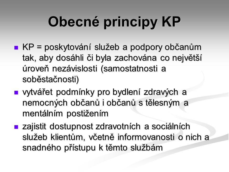 Obecné principy KP KP = poskytování služeb a podpory občanům tak, aby dosáhli či byla zachována co největší úroveň nezávislosti (samostatnosti a soběstačnosti) KP = poskytování služeb a podpory občanům tak, aby dosáhli či byla zachována co největší úroveň nezávislosti (samostatnosti a soběstačnosti) vytvářet podmínky pro bydlení zdravých a nemocných občanů i občanů s tělesným a mentálním postižením vytvářet podmínky pro bydlení zdravých a nemocných občanů i občanů s tělesným a mentálním postižením zajistit dostupnost zdravotních a sociálních služeb klientům, včetně informovanosti o nich a snadného přístupu k těmto službám zajistit dostupnost zdravotních a sociálních služeb klientům, včetně informovanosti o nich a snadného přístupu k těmto službám