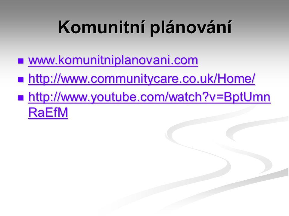 Komunitní plánování www.komunitniplanovani.com www.komunitniplanovani.com www.komunitniplanovani.com http://www.communitycare.co.uk/Home/ http://www.communitycare.co.uk/Home/ http://www.communitycare.co.uk/Home/ http://www.youtube.com/watch?v=BptUmn RaEfM http://www.youtube.com/watch?v=BptUmn RaEfM http://www.youtube.com/watch?v=BptUmn RaEfM http://www.youtube.com/watch?v=BptUmn RaEfM