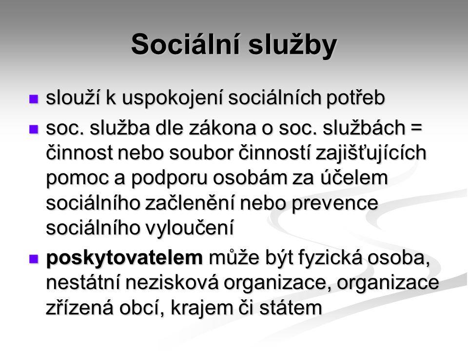 Sociální služby slouží k uspokojení sociálních potřeb slouží k uspokojení sociálních potřeb soc.