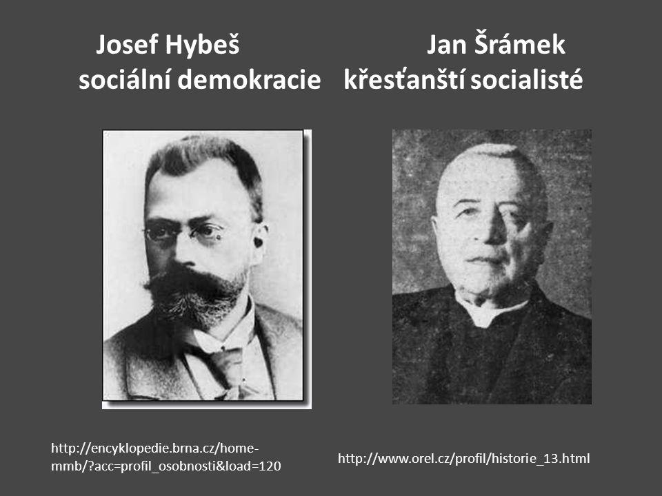Josef HybešJan Šrámek sociální demokraciekřesťanští socialisté http://encyklopedie.brna.cz/home- mmb/?acc=profil_osobnosti&load=120 http://www.orel.cz