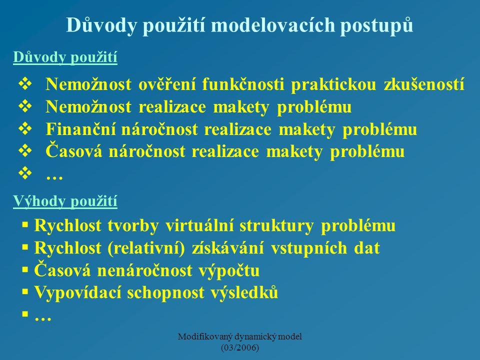 Modifikovaný dynamický model (03/2006) Důvody použití modelovacích postupů  Nemožnost ověření funkčnosti praktickou zkušeností  Nemožnost realizace makety problému  Finanční náročnost realizace makety problému  Časová náročnost realizace makety problému  …  Rychlost tvorby virtuální struktury problému  Rychlost (relativní) získávání vstupních dat  Časová nenáročnost výpočtu  Vypovídací schopnost výsledků  … Důvody použití Výhody použití