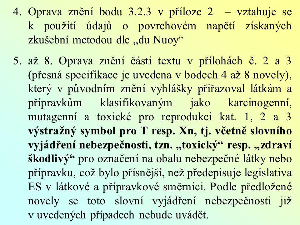 """4.Oprava znění bodu 3.2.3 v příloze 2 – vztahuje se k použití údajů o povrchovém napětí získaných zkušební metodou dle """"du Nuoy 5.až 8."""