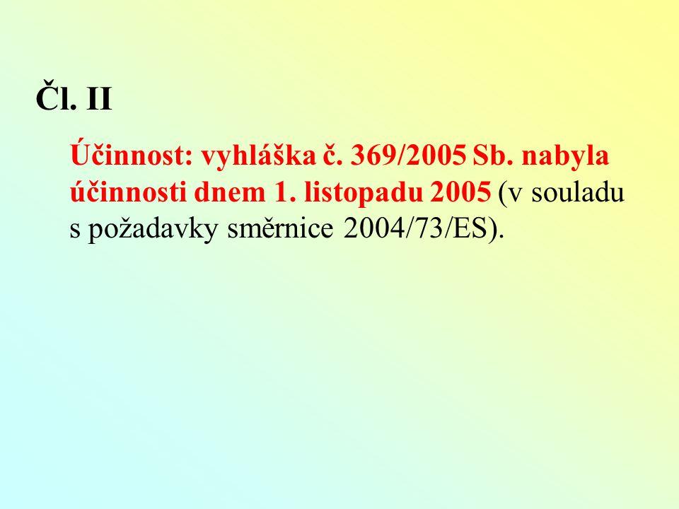 Čl. II Účinnost: vyhláška č. 369/2005 Sb. nabyla účinnosti dnem 1.
