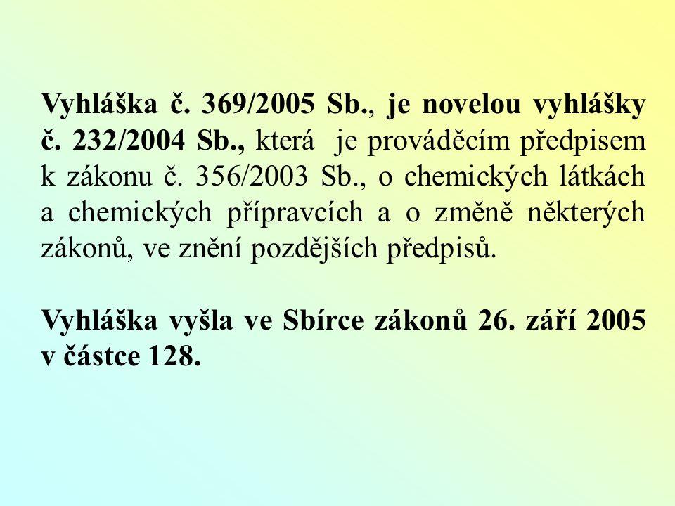 Čl.II Účinnost: vyhláška č. 369/2005 Sb. nabyla účinnosti dnem 1.