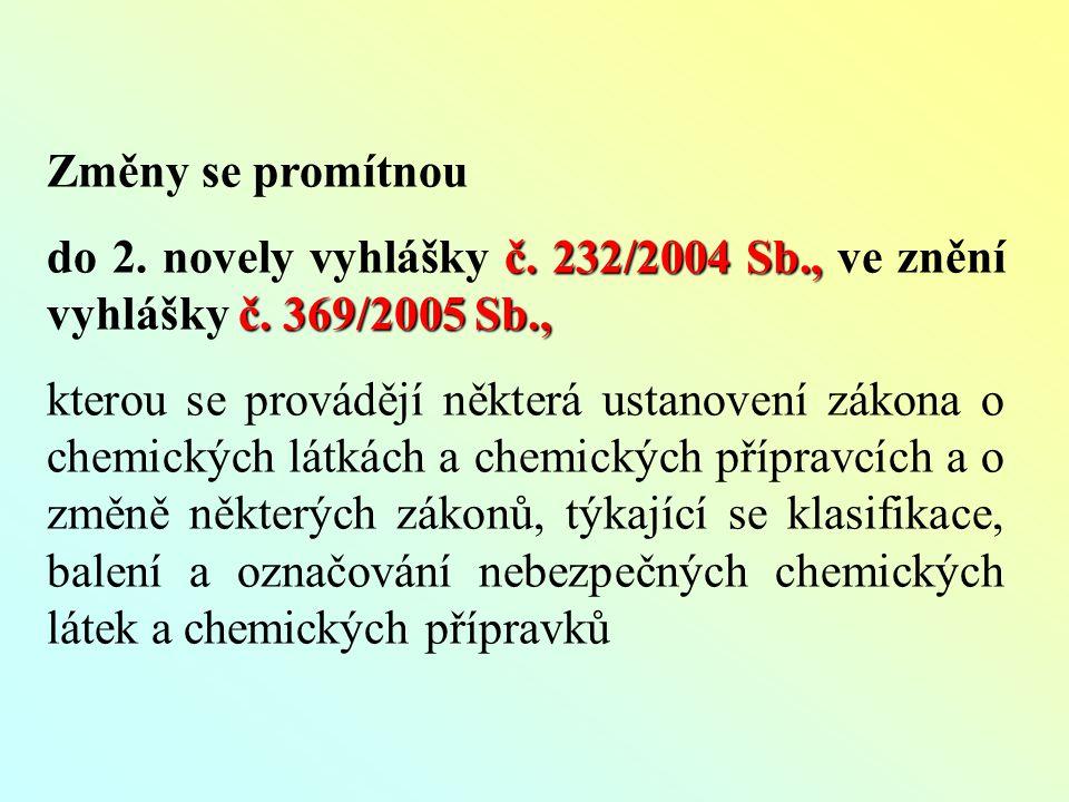 Změny se promítnou č. 232/2004 Sb., č. 369/2005 Sb., do 2.