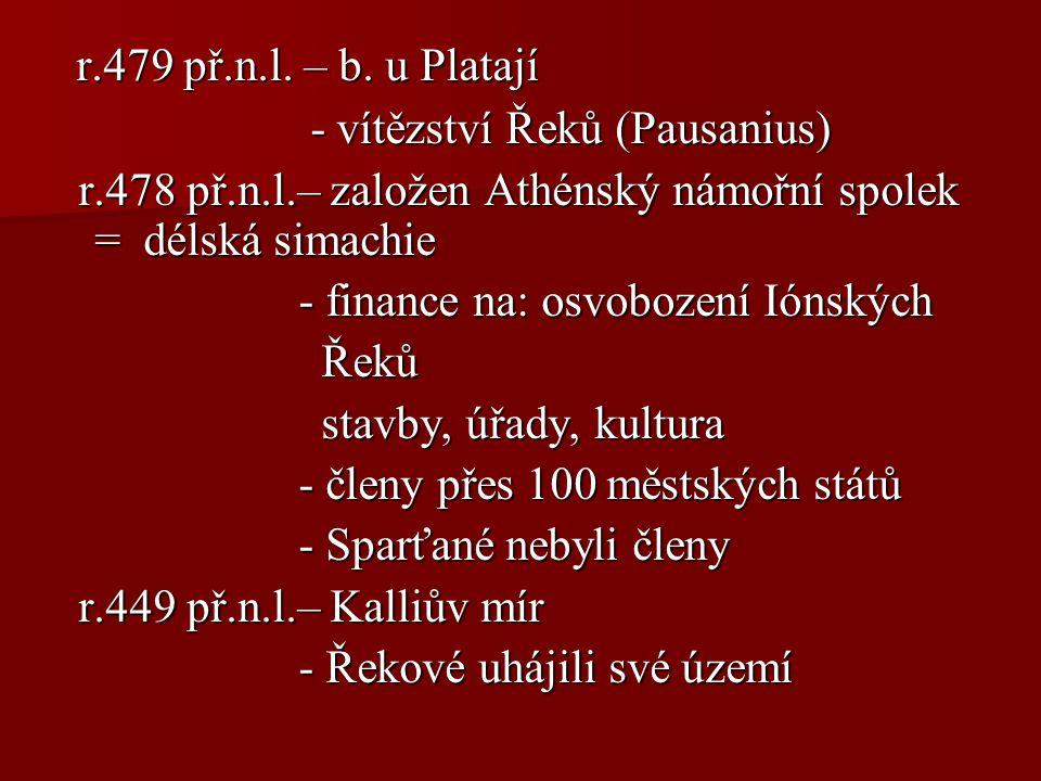 r.479 př.n.l. – b. u Platají r.479 př.n.l. – b. u Platají - vítězství Řeků (Pausanius) - vítězství Řeků (Pausanius) r.478 př.n.l.– založen Athénský ná