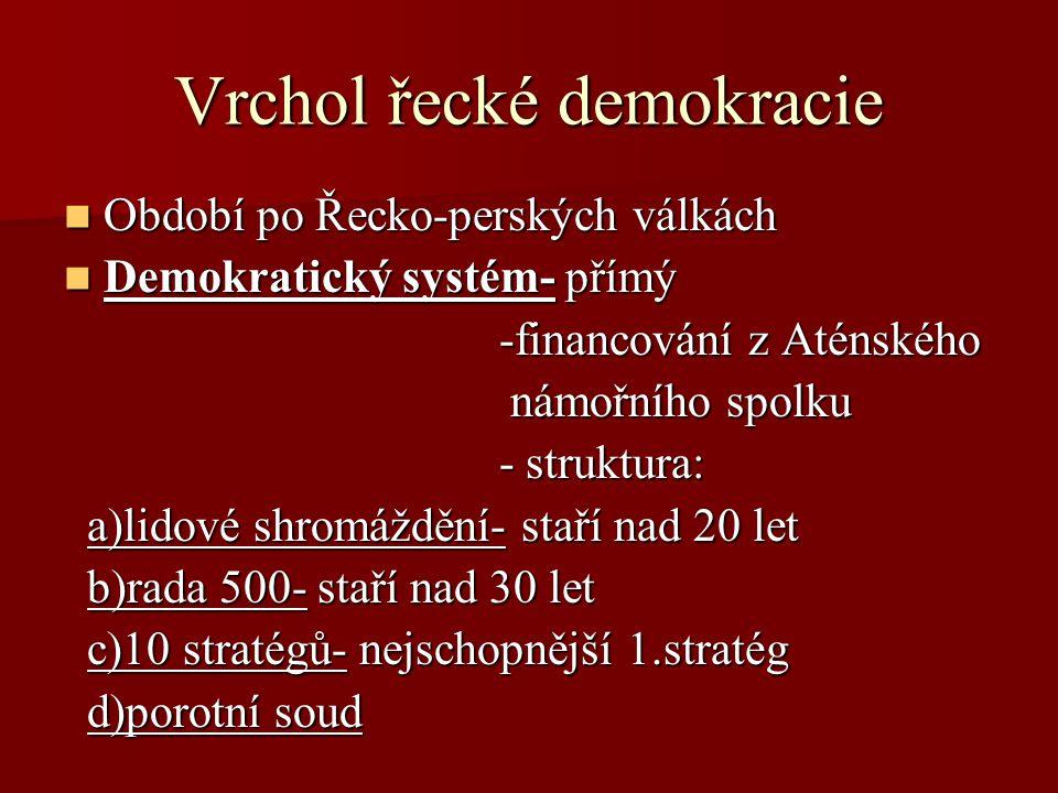 Vrchol řecké demokracie Období po Řecko-perských válkách Období po Řecko-perských válkách Demokratický systém- přímý Demokratický systém- přímý -finan