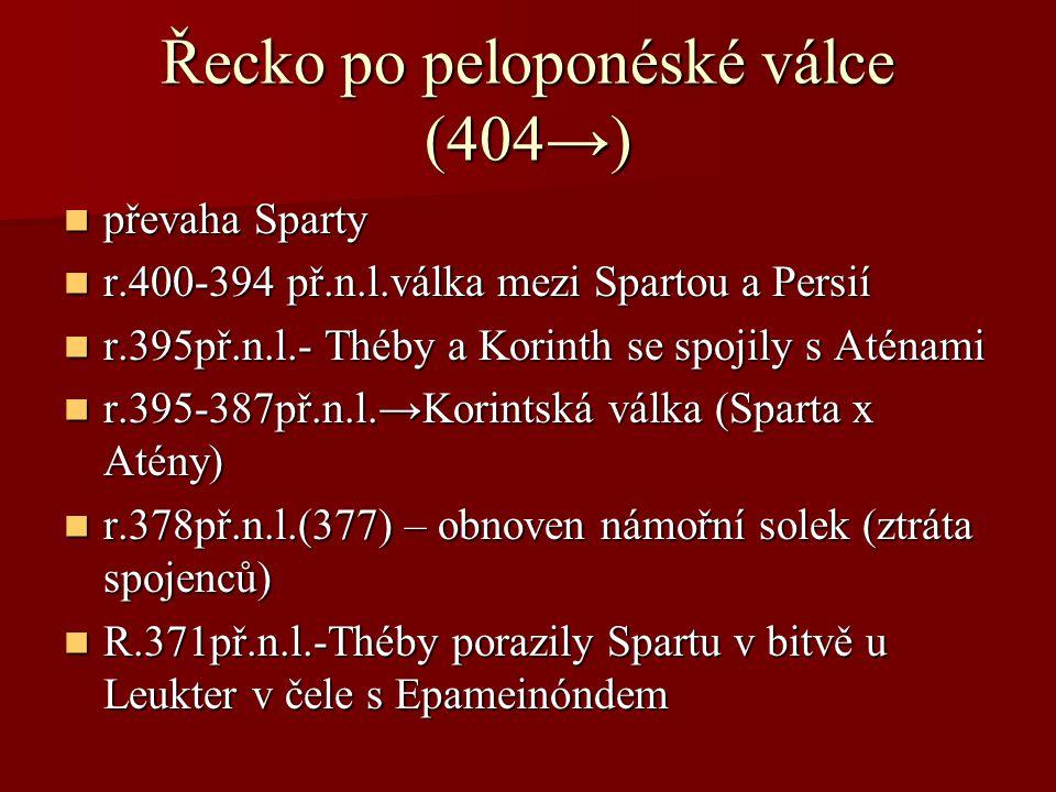Řecko po peloponéské válce (404→) převaha Sparty převaha Sparty r.400-394 př.n.l.válka mezi Spartou a Persií r.400-394 př.n.l.válka mezi Spartou a Per