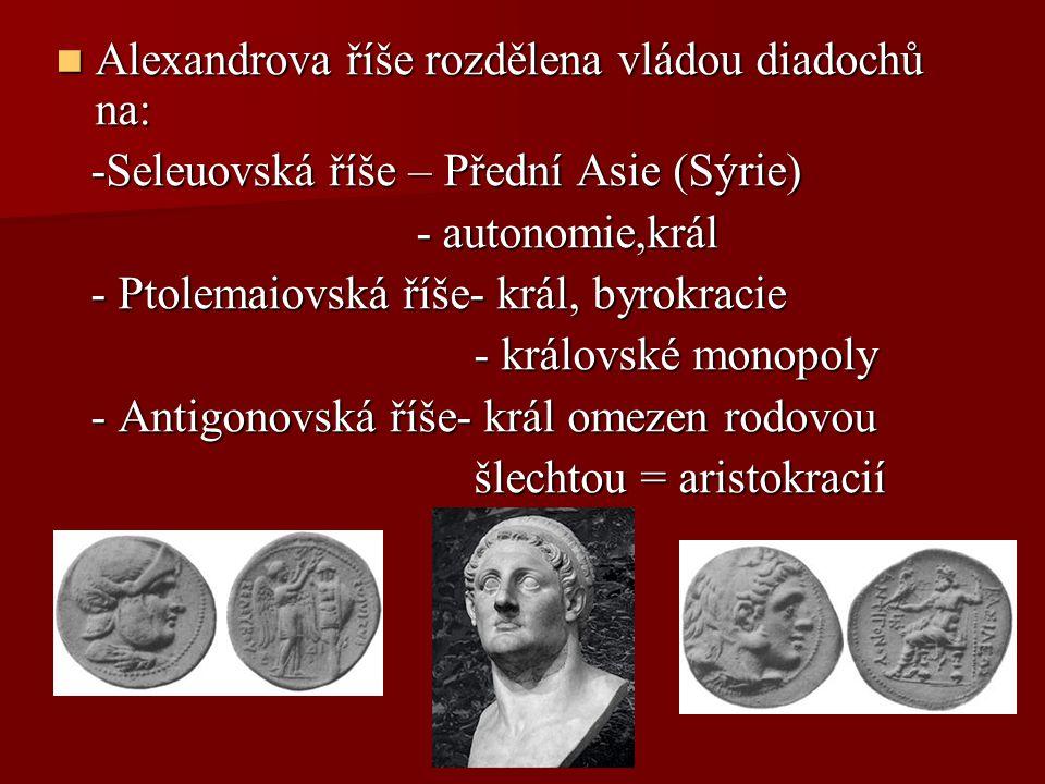 Alexandrova říše rozdělena vládou diadochů na: Alexandrova říše rozdělena vládou diadochů na: -Seleuovská říše – Přední Asie (Sýrie) -Seleuovská říše