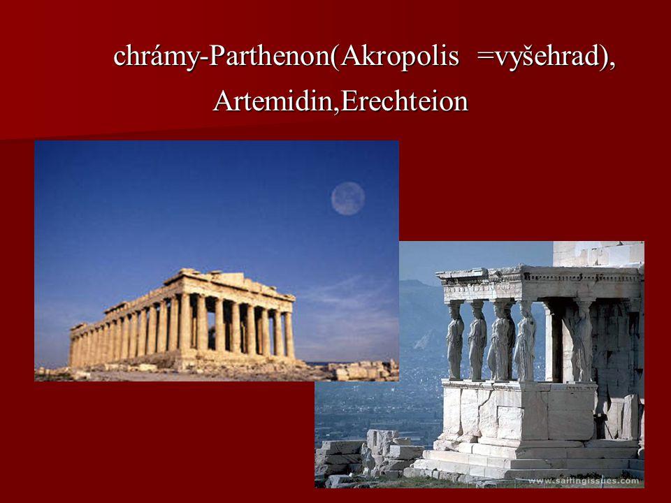chrámy-Parthenon(Akropolis =vyšehrad), chrámy-Parthenon(Akropolis =vyšehrad), Artemidin,Erechteion Artemidin,Erechteion
