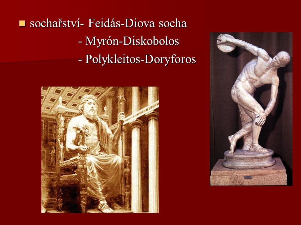 sochařství- Feidás-Diova socha sochařství- Feidás-Diova socha - Myrón-Diskobolos - Myrón-Diskobolos - Polykleitos-Doryforos - Polykleitos-Doryforos