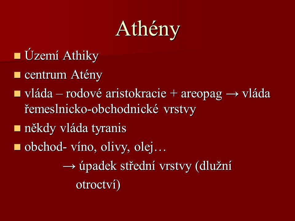 Athény Území Athiky Území Athiky centrum Atény centrum Atény vláda – rodové aristokracie + areopag → vláda řemeslnicko-obchodnické vrstvy vláda – rodo