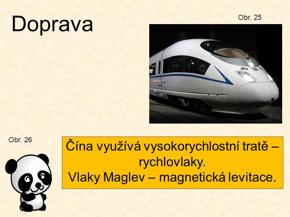 Obr. 25 Doprava Čína využívá vysokorychlostní tratě – rychlovlaky. Vlaky Maglev – magnetická levitace. Obr. 26