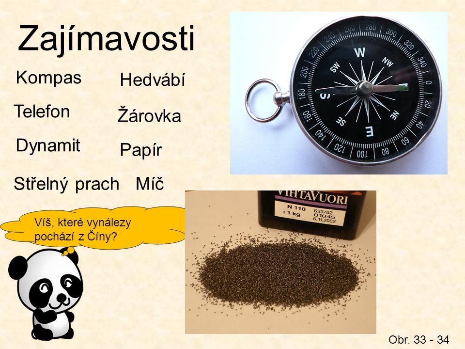Zajímavosti Obr. 33 - 34 Kompas Dynamit Víš, které vynálezy pochází z Číny? Telefon Střelný prach Hedvábí Žárovka Papír Míč