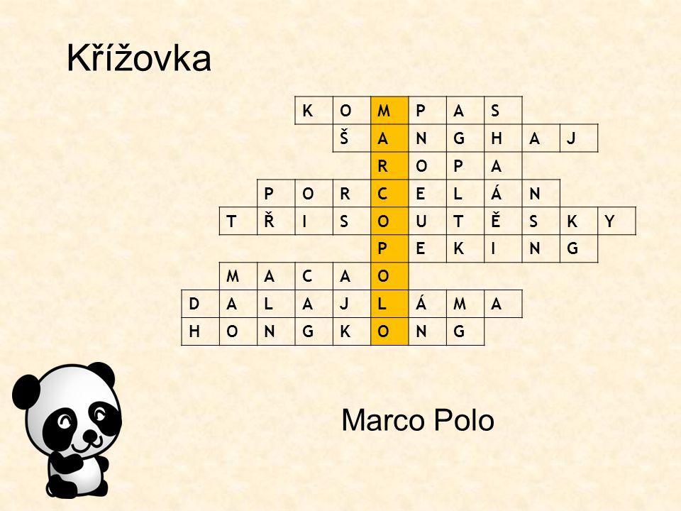 Křížovka Marco Polo KOMPAS ŠANGHAJ ROPA PORCELÁN TŘISOUTĚSKY PEKING MACAO DALAJLÁMA HONGKONG