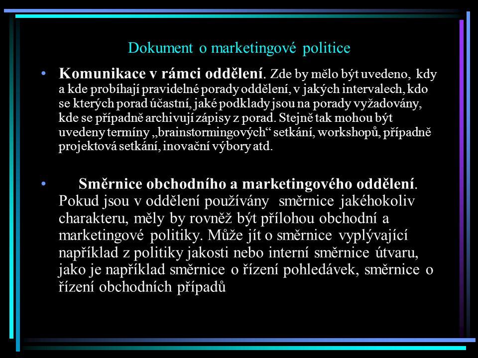 Dokument o marketingové politice Komunikace v rámci oddělení.