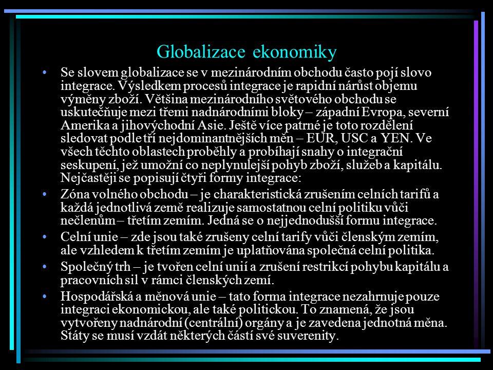 Globalizace ekonomiky Se slovem globalizace se v mezinárodním obchodu často pojí slovo integrace.