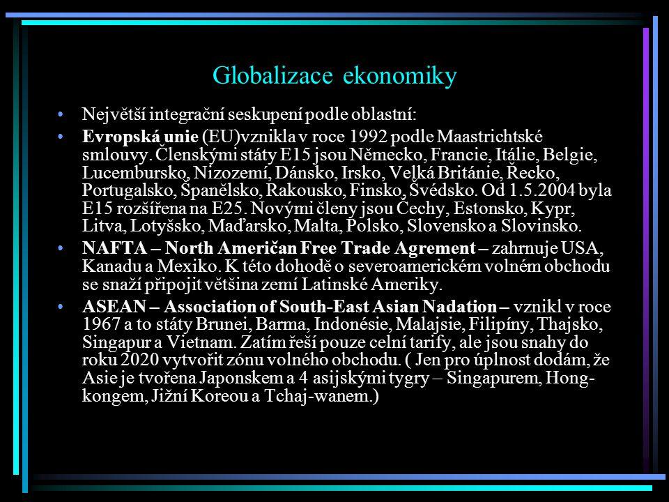 Globalizace ekonomiky Největší integrační seskupení podle oblastní: Evropská unie (EU)vznikla v roce 1992 podle Maastrichtské smlouvy.