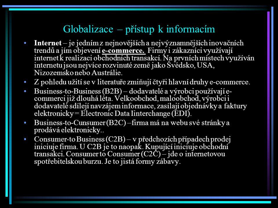Globalizace – přístup k informacím Internet – je jedním z nejnovějších a nejvýznamnějších inovačních trendů a jím objevení e-commerce.