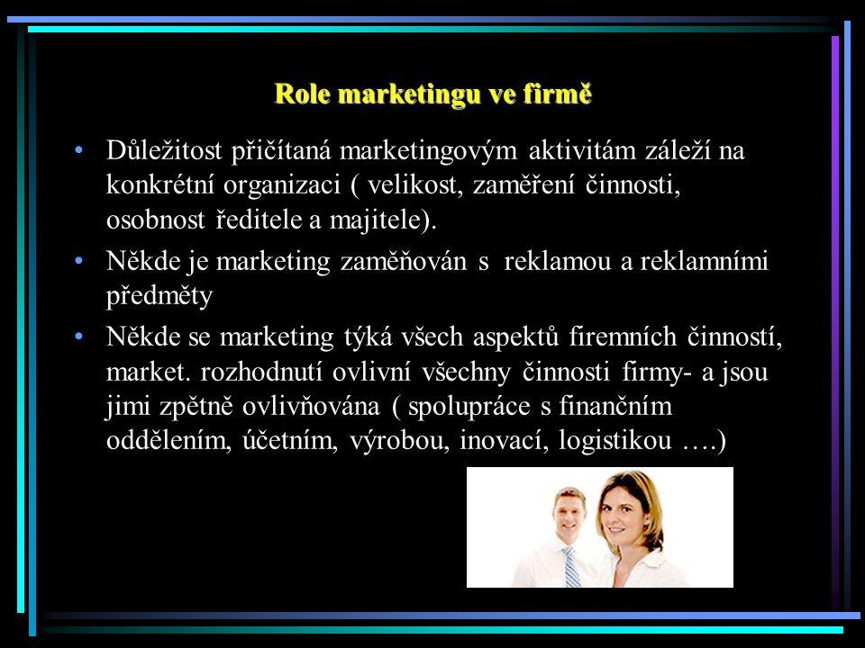 Role marketingu ve firmě Důležitost přičítaná marketingovým aktivitám záleží na konkrétní organizaci ( velikost, zaměření činnosti, osobnost ředitele a majitele).
