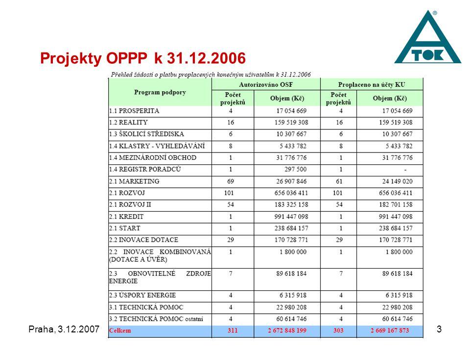 """Praha, 3.12.2007""""Jsou fondy a programy EU pro podnikatele 3 Projekty OPPP k 31.12.2006"""