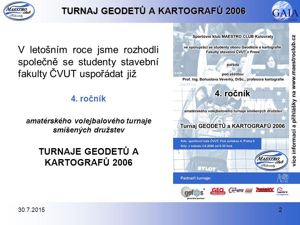 30.7.20152 TURNAJ GEODETŮ A KARTOGRAFŮ 2006 V letošním roce jsme rozhodli společně se studenty stavební fakulty ČVUT uspořádat již 4. ročník amatérské