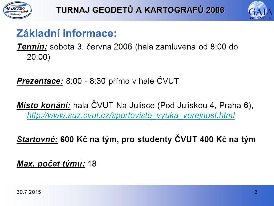 30.7.20156 TURNAJ GEODETŮ A KARTOGRAFŮ 2006 Základní informace: Termín: sobota 3. června 2006 (hala zamluvena od 8:00 do 20:00) Prezentace: 8:00 - 8:3