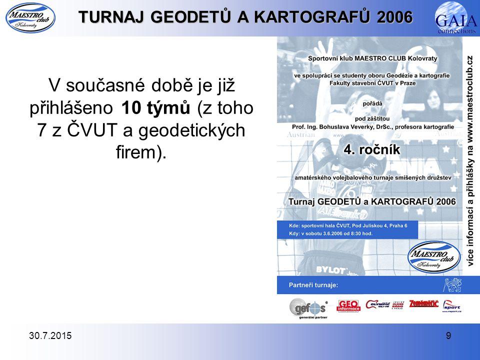 30.7.20159 TURNAJ GEODETŮ A KARTOGRAFŮ 2006 V současné době je již přihlášeno 10 týmů (z toho 7 z ČVUT a geodetických firem).