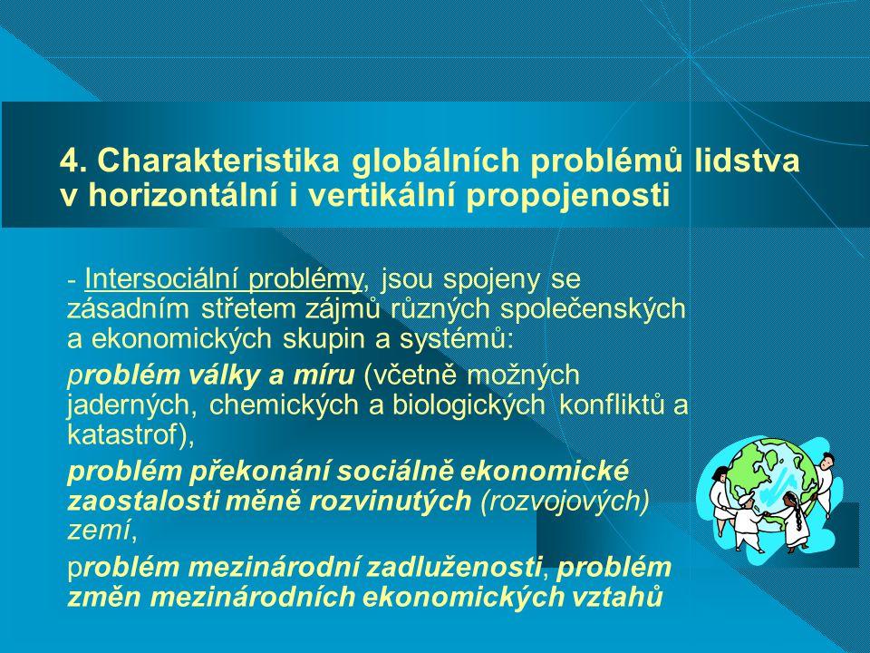 4. Charakteristika globálních problémů lidstva v horizontální i vertikální propojenosti - Intersociální problémy, jsou spojeny se zásadním střetem záj