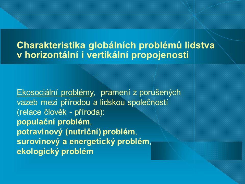Charakteristika globálních problémů lidstva v horizontální i vertikální propojenosti Ekosociální problémy, pramení z porušených vazeb mezi přírodou a