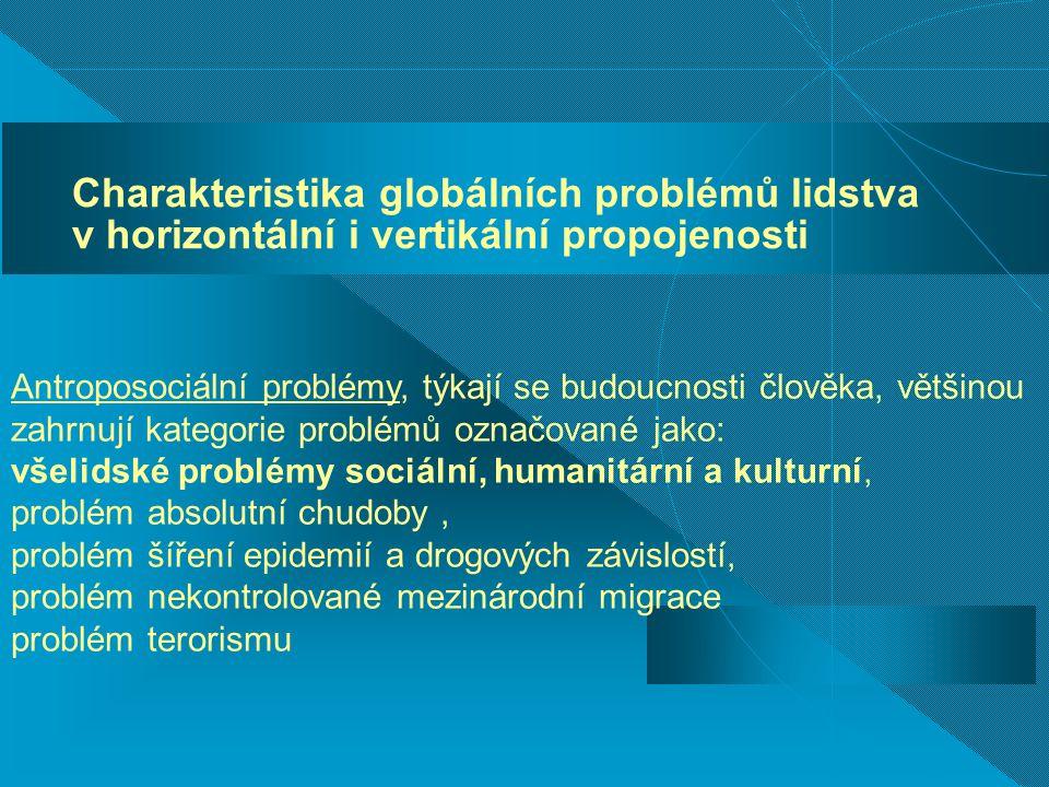 Charakteristika globálních problémů lidstva v horizontální i vertikální propojenosti Antroposociální problémy, týkají se budoucnosti člověka, většinou