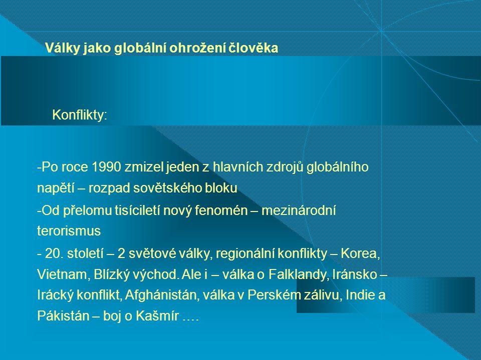 Války jako globální ohrožení člověka Konflikty: -Po roce 1990 zmizel jeden z hlavních zdrojů globálního napětí – rozpad sovětského bloku -Od přelomu t