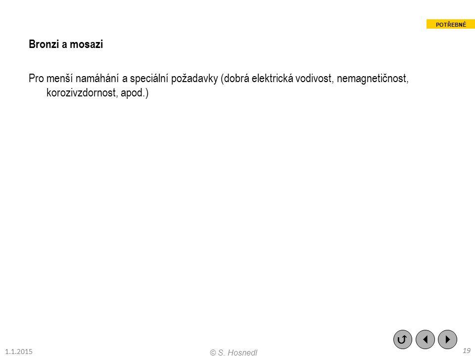 Bronzi a mosazi Pro menší namáhání a speciální požadavky (dobrá elektrická vodivost, nemagnetičnost, korozivzdornost, apod.)    19 © S. Hosnedl POT