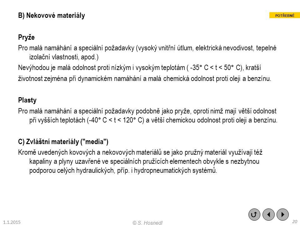 B) Nekovové materiály Pryže Pro malá namáhání a speciální požadavky (vysoký vnitřní útlum, elektrická nevodivost, tepelné izolační vlastnosti, apod.)