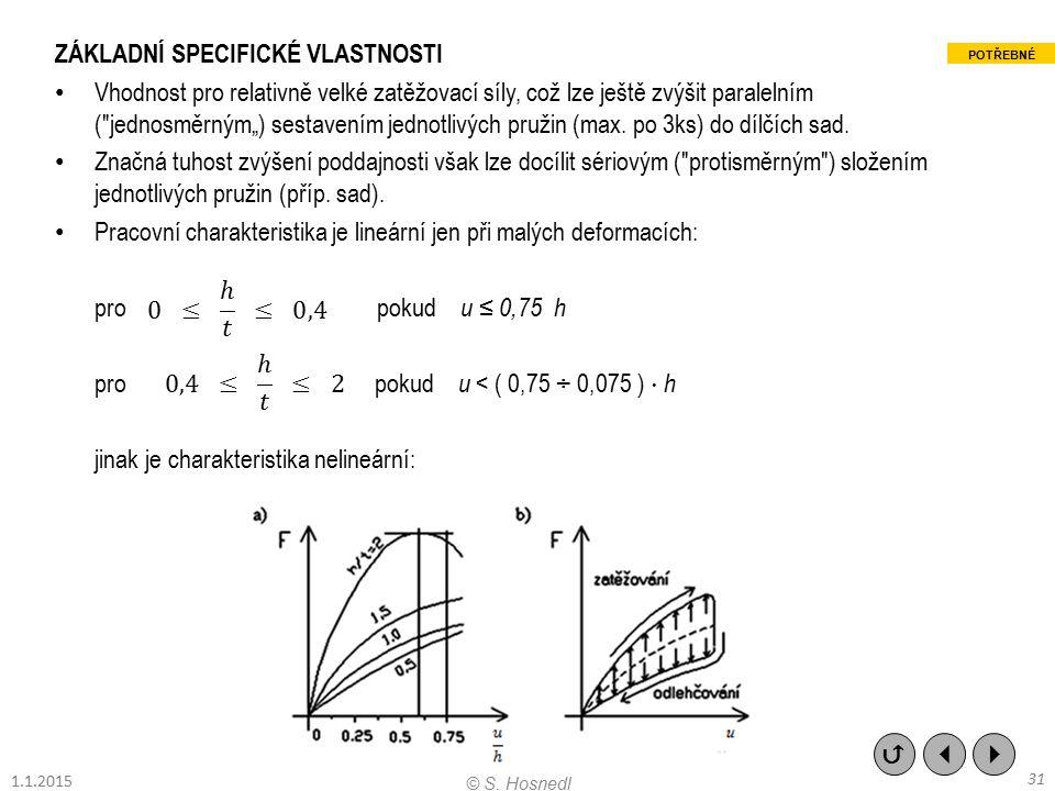 ZÁKLADNÍ SPECIFICKÉ VLASTNOSTI Vhodnost pro relativně velké zatěžovací síly, což lze ještě zvýšit paralelním (