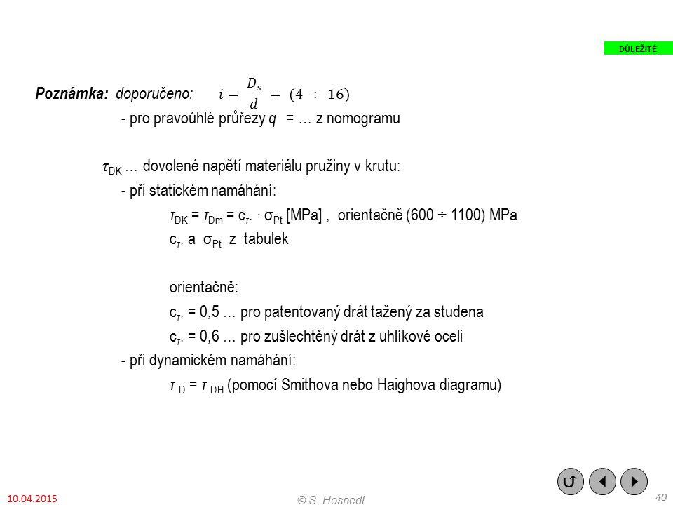 Poznámka: doporučeno: - pro pravoúhlé průřezy q = … z nomogramu τ DK … dovolené napětí materiálu pružiny v krutu: - při statickém namáhání: τ DK = τ D
