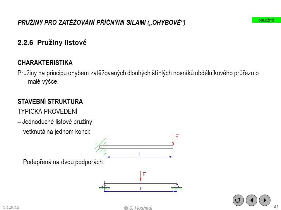 """PRUŽINY PRO ZATĚŽOVÁNÍ PŘÍČNÝMI SILAMI (""""OHYBOVÉ"""") 2.2.6 Pružiny listové CHARAKTERISTIKA Pružiny na principu ohybem zatěžovaných dlouhých štíhlých nos"""