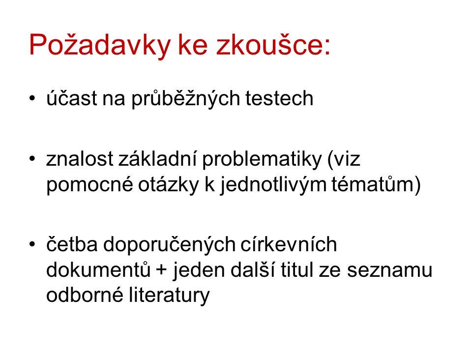 Požadavky ke zkoušce: účast na průběžných testech znalost základní problematiky (viz pomocné otázky k jednotlivým tématům) četba doporučených církevních dokumentů + jeden další titul ze seznamu odborné literatury