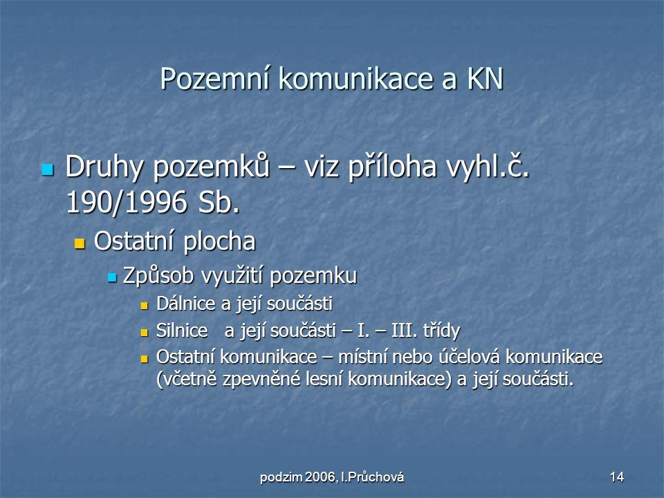 podzim 2006, I.Průchová14 Pozemní komunikace a KN Druhy pozemků – viz příloha vyhl.č.