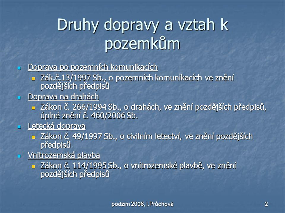 podzim 2006, I.Průchová3 Právní režim pozemků sloužících dopravě na pozemních komunikací Prameny právní úpravy: Prameny právní úpravy: Zákon č.