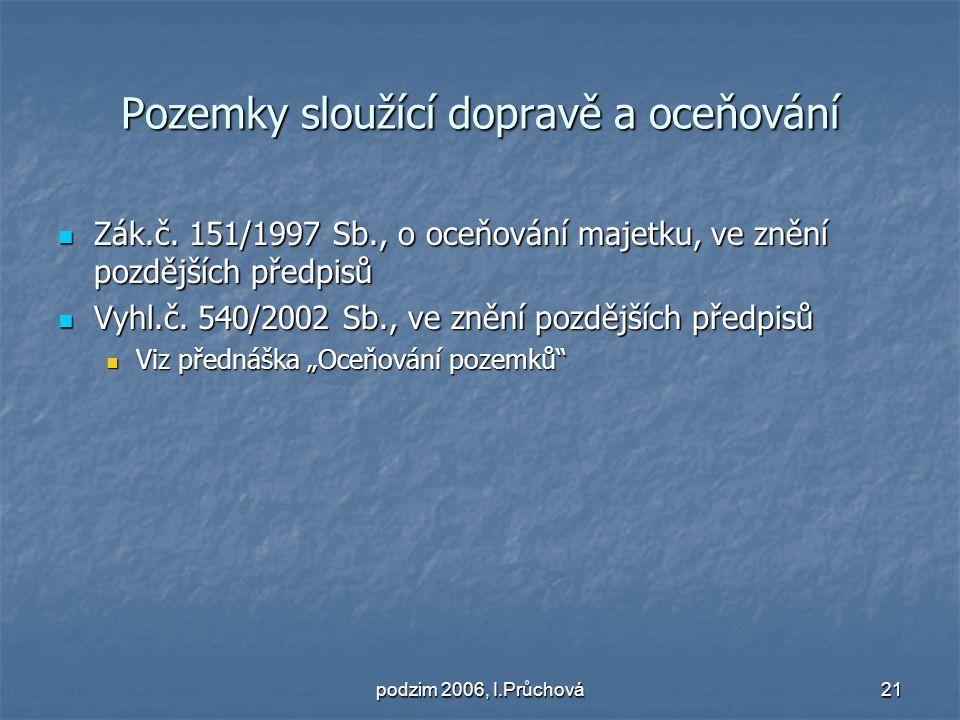 podzim 2006, I.Průchová21 Pozemky sloužící dopravě a oceňování Zák.č.