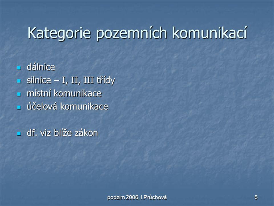 podzim 2006, I.Průchová6 Majetkoprávní režim pozemních komunikací Dálnice, silnice I.