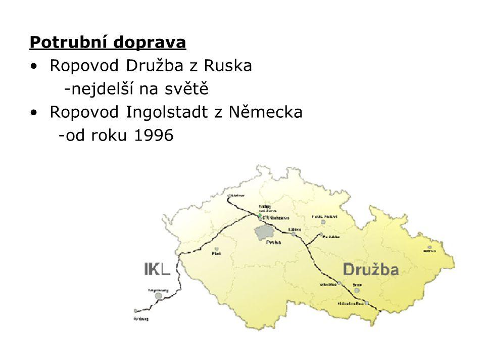 Potrubní doprava Ropovod Družba z Ruska -nejdelší na světě Ropovod Ingolstadt z Německa -od roku 1996