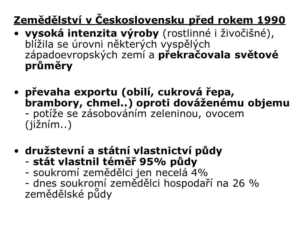 Zemědělství v Československu před rokem 1990 vysoká intenzita výroby (rostlinné i živočišné), blížila se úrovni některých vyspělých západoevropských zemí a překračovala světové průměry převaha exportu (obilí, cukrová řepa, brambory, chmel..) oproti dováženému objemu - potíže se zásobováním zeleninou, ovocem (jižním..) družstevní a státní vlastnictví půdy - stát vlastnil téměř 95% půdy - soukromí zemědělci jen necelá 4% - dnes soukromí zemědělci hospodaří na 26 % zemědělské půdy