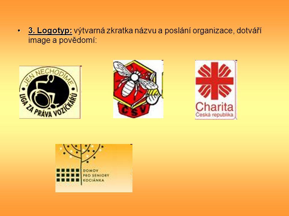 3. Logotyp:3. Logotyp: výtvarná zkratka názvu a poslání organizace, dotváří image a povědomí: