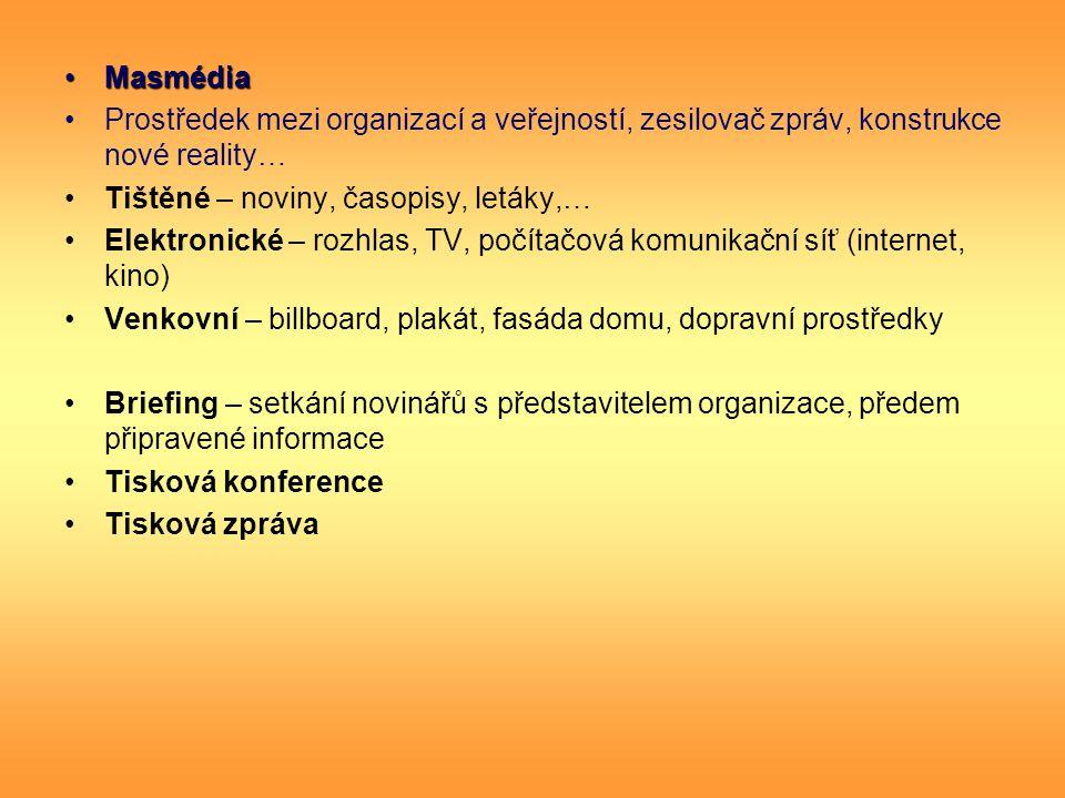 MasmédiaMasmédia Prostředek mezi organizací a veřejností, zesilovač zpráv, konstrukce nové reality… Tištěné – noviny, časopisy, letáky,… Elektronické